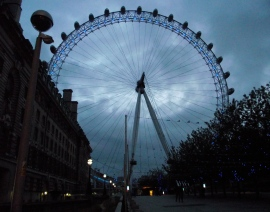 London Eye from street when early eve