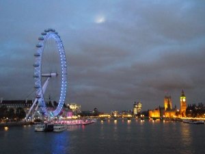 London Eye, Houses of Parliament, Big Ben, Moon Behind Clouds