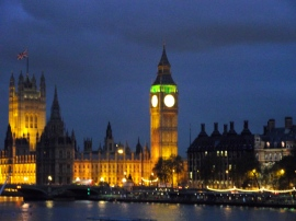 Houses of Parliament and Big Ben with Flag