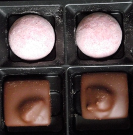 photo of pink champagne and coffee walnut milk chocolate